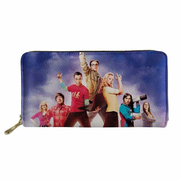 Nuevo bolso para hombre cartera de cuero larga de la pu The Big Bang Theory Impresión Monedas Bolsa ID Card Pasaporte Titular Caja del teléfono de los niños