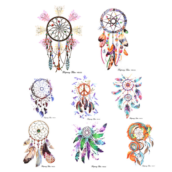 DIY Colorful Feather Wind chimes 1 Sheet Temporary Tattoo Dream Catcher Tattoo Decal Designs Water Proof Stickers Body Ar