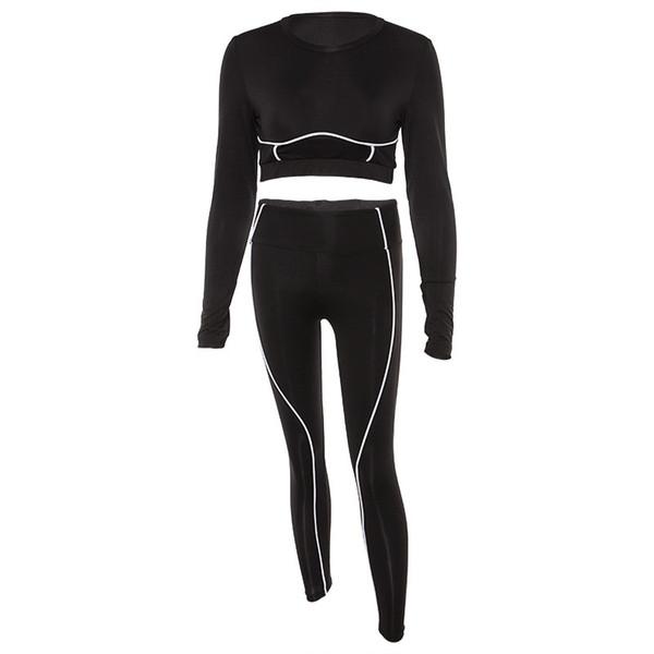 PENERAN с длинным рукавом спортивная одежда женщины спортивный костюм фитнес бег костюм женский Dry Fit работает тренажерный зал одежда черный спортивный костюм 2018