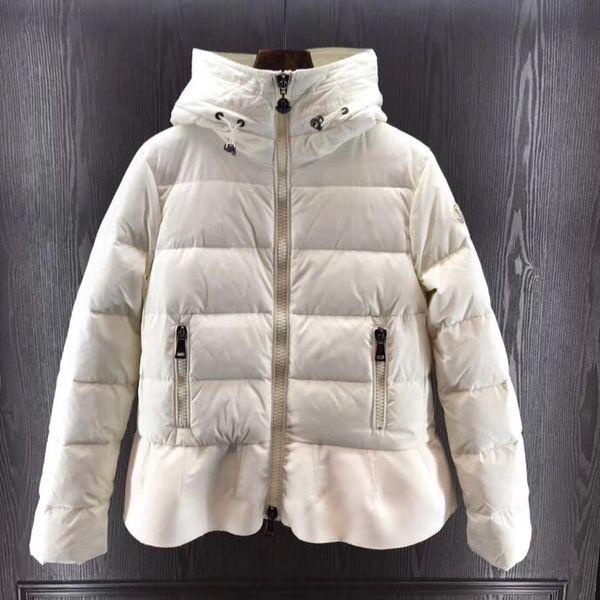 Moda Falbala Casaco venda quente mulheres jaqueta de inverno casaco Feminino com capuz para baixo jaqueta Magro Preto branco