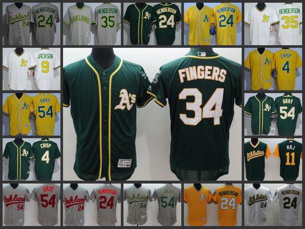 Oakland Athletics Mnas Jersey #54 Sonny Gray 35 Rickey Henderson 34 Rollie Fingers Woman Youth Baseball Jerseys