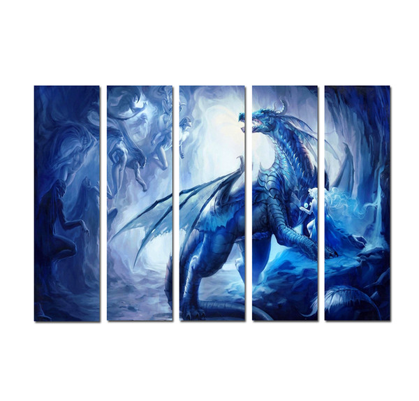 Large 5 Panel Modern Wall Art Fantasy Dragon Ball Z Super Shenlong Posters Picture Printed On Canvas for Living Room Home Decoration DHB9