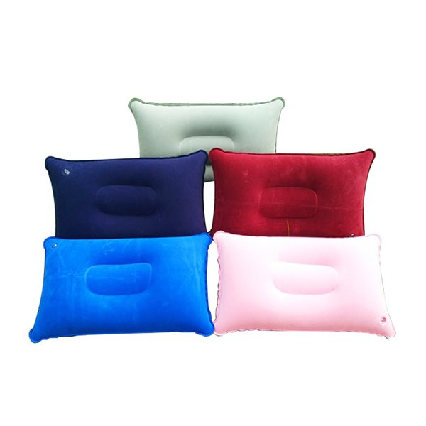 New Double Sided flocking Inflatable Pillow Cushion Pad For Camping Travel Hiking Sleep Rest 5 Colours 1pcs