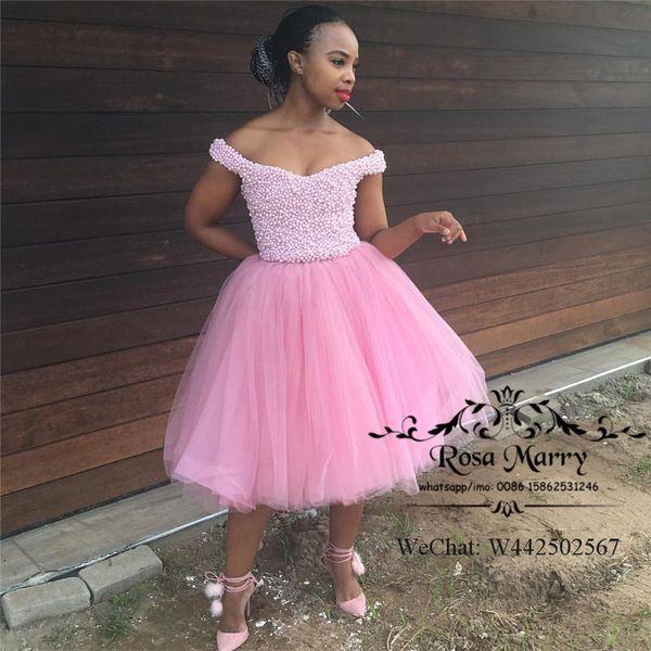 Compre Vestidos De Fiesta Cortos De Color Rosa Negro Para Niñas De Lujo Vestido De Fiesta 2020 Perlas Más Tamaño Hasta La Rodilla Vestido Formal