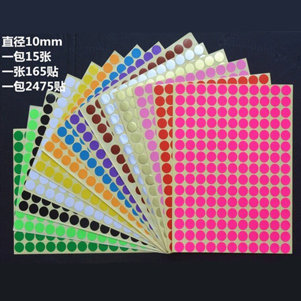 Free Shipping 165pcs/lot 10mm Colorful Round Dot sticker labels Color Stickers Circles Paper Label for Packing Tags