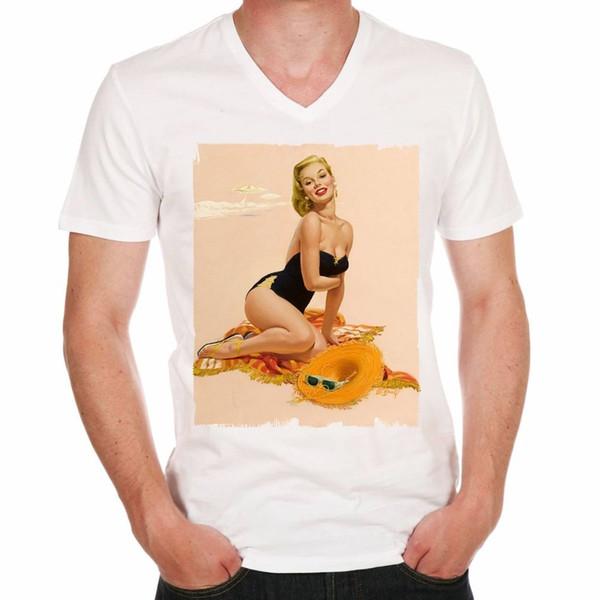 Summer Pin-up H Tshirt Camiseta de hombre