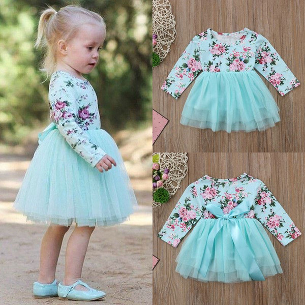 Sweet Fashion Cotton Newborn Toddler Kids Baby Girls Long Sleeve Floral Party Pageant Tulle Patchwork Cute Dress Clothes