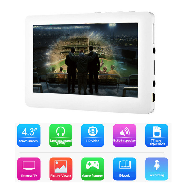 HD Touch Screen MP4 Player 8GB Memory Speaker Player Support Video playback, E-book, FM,Games,MP5 Music Player