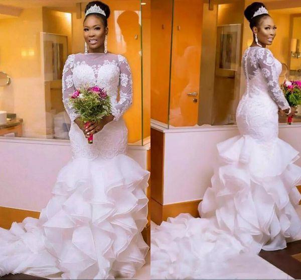 Vestidos de novia de sirena sudafricanos de talla grande con cuello en V de manga larga con cuello en V y vestidos de novia de cola de pez con volantes elegantes