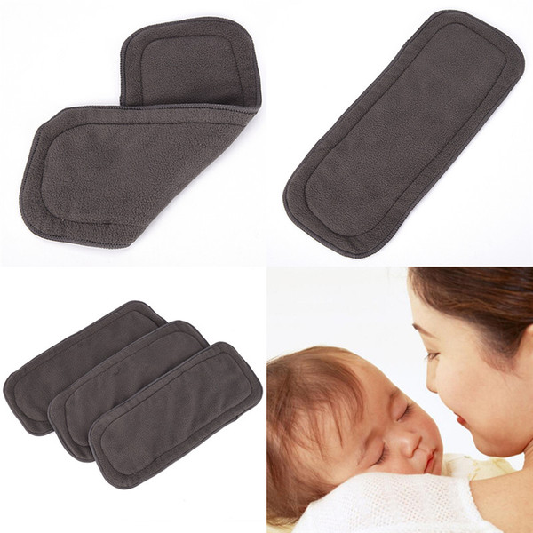 best selling Baby Diapers Washable 4 Layers Cotton Cloth Charcoal Bamboo Diaper Insert Retail 0-1 Years Old Boy Girls Reusable Top Quality