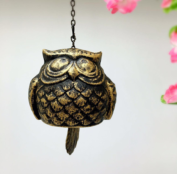3 Pieces Cast Iron Owl Windchime Bell Vintage Metal Wind Chime Hanging Bell Home Garden Store Shop Hotel Bar Yard Porch Decoration Metal