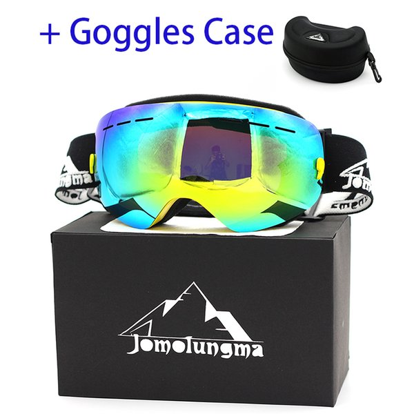 Jomolungma Ski Goggles Double Large Spherical Lens UV400 Polarized Anti-fog Men Women Skiing Glasses With Big EVA Case SGC00103
