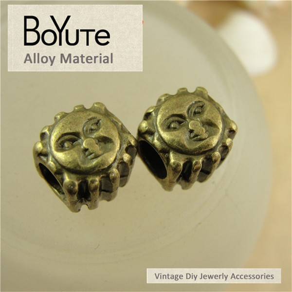 BoYuTe (50 Pieces/Lot) 10*10*10MM Antique Bronze Plated Zinc Alloy Vintage Sun Big Hole Metal Beads for Diy Accessories Jewelry Makings