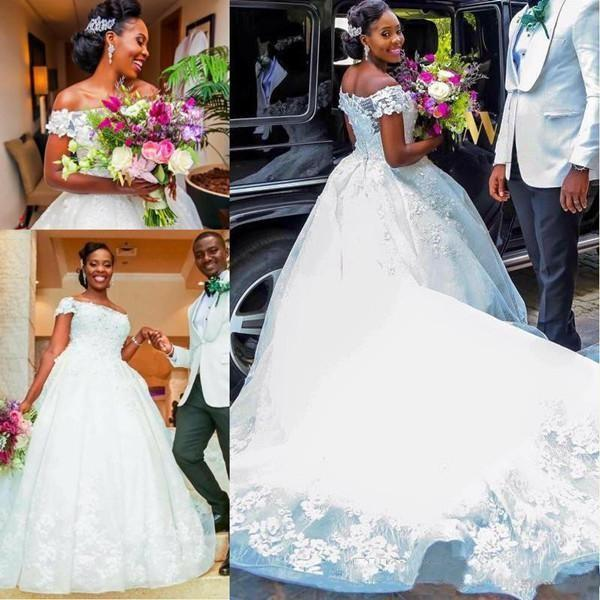 2018 New African Lace Ball Gown Wedding Dresses Off Shoulder Appliques Beads Ruffles Court Train Elegant Bridal Gowns Plus Size Customized
