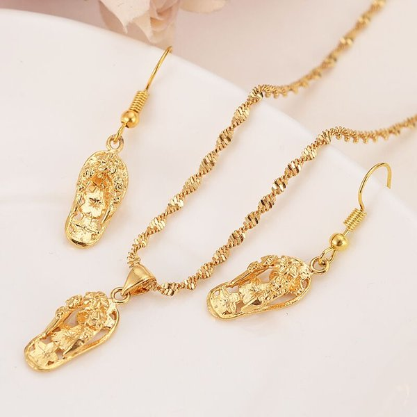24k Yellow Solid Gold FINISH Lovely Slipper Pendant Necklaces earrings Women girls party jewelry sets gifts diy charms