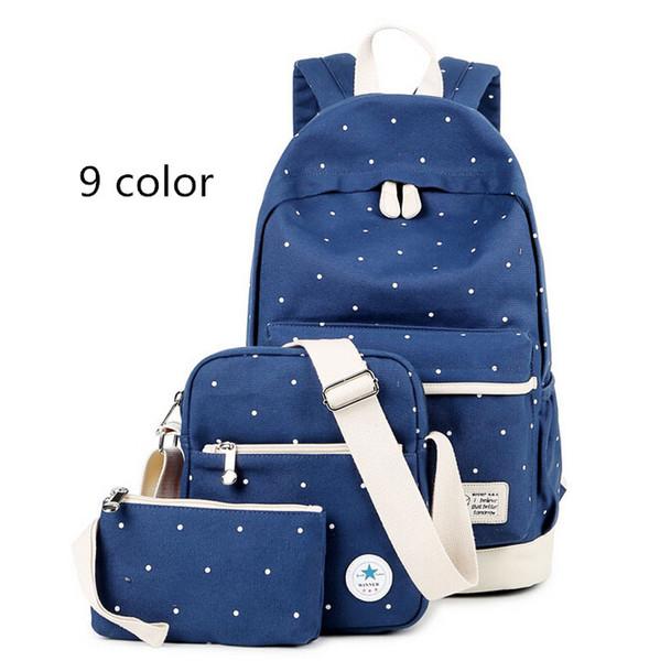 3 pcs / set Women Backpack School Teenagers Girls Vintage Stylish School Bag Ladies Backpack Female Purple Back High Quality