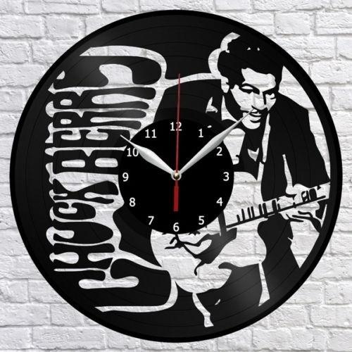 Chuck Berry Music Vinyl Record Wall Clock Fan Art Home Decor Handmade Art Personality Gift (Size: 12 inches, Color: Black)