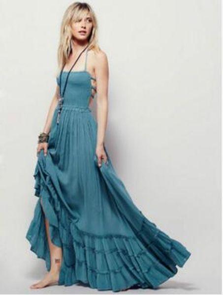 Sıcak Satış kadın giyim Backless Bohemia Plaj Elbise Pamuk Elbise