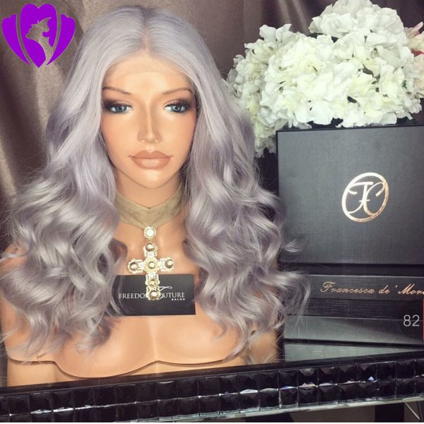 Hotselling Silver Grey Wig short Bob Wig middle part Synthetic Lace Front Wig Heat Resistant Hair For Women