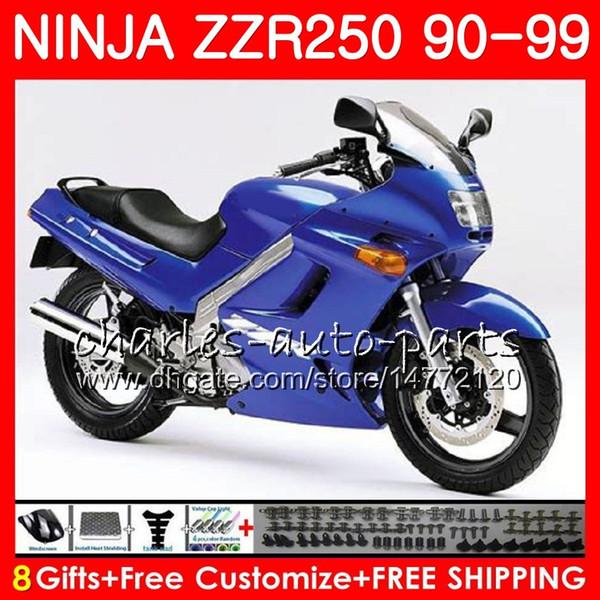 Carenado para KAWASAKI NINJA ZZR250 ZZR 250 90 95 96 97 98 99 117HM.48 brillante ZZR-250 1990 1995 1996 1997 1998 1999 1999 Kit de carrocería azul de fábrica