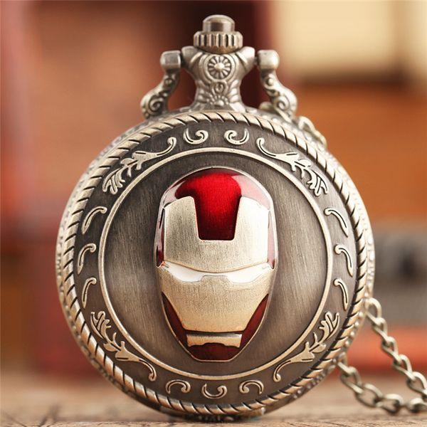 Hot Super Hero Pocket Watch 3D Iron Man Sculpture Pendant Necklace Stylish Teens Clock Special Men Women Fans Gifts Reloj Saat