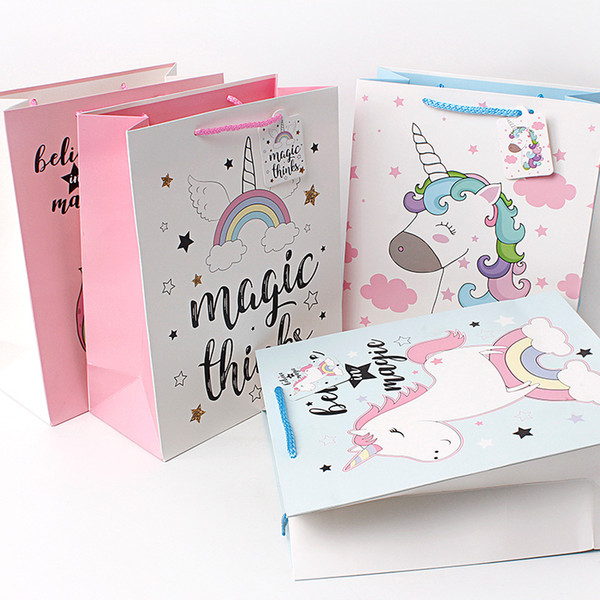 3 Size Unicorn Kraft Paper Gift Bags with Handles Festival Party Gift Packaging Bags DIY Multifunction Shopping Bags