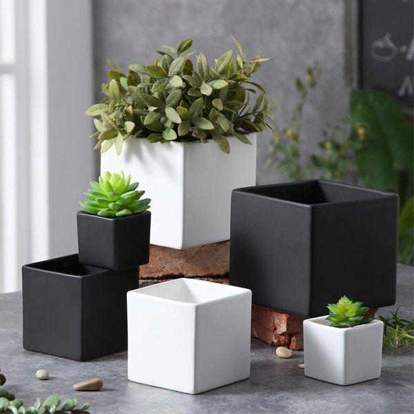 Square Succulent Plant Potted Corrosion Resistant Ceramic Flower Pots For Home Office Desktop Decorations Flowerpot White Black 9 5xp3 BB