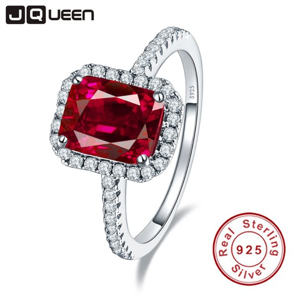 Hot Sale 3.6ct Pigeon Blood Red Ruby Engagement Wedding Ring Pure Solid 925 Sterling Silver Square Cut Fine Jewelry with box S18101002