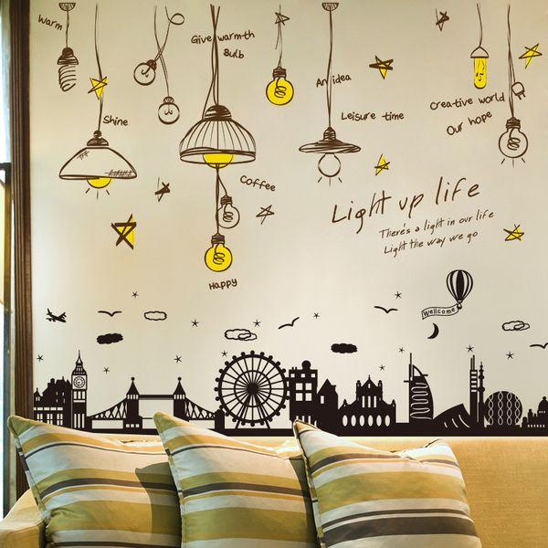 SHIJUEHEZI Nordic Style Chandeliers Wall Stickers PVC DIY Buildings Home Decor Sticker For Living Room Baseboard Decoration SHIJUEHEZI Princess