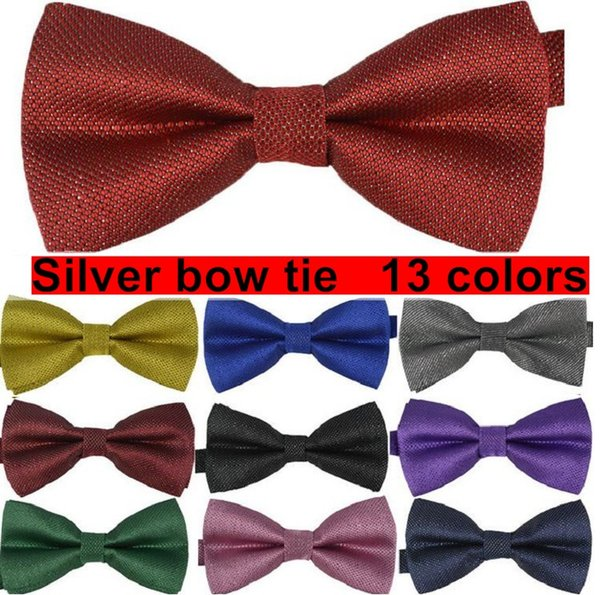 silver Mens bow tie plaid Adjustable adult butterfly evening party Decorated Neckwear 13 colors 10 pcs/lot