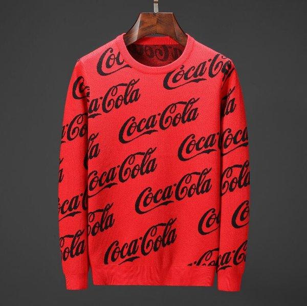 Hommes noir motif CoCa chaud pull en cachemire pull de noël pull en cachemire rouge cardigan designer marque coton pull manteau pull streetwear