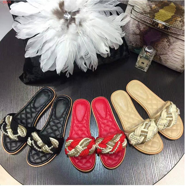 Classic summer Slippers women red black pearled flat Heels Mules crossover flip flops 2018 beach leather Shoes chaussure femme pu sandals 40