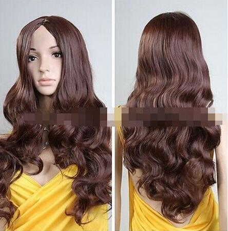 Livraison gratuite ++++ Femmes Lady Résistant À La Chaleur Longue Brun Curly Cosplay Party Perruques de Cheveux Complets