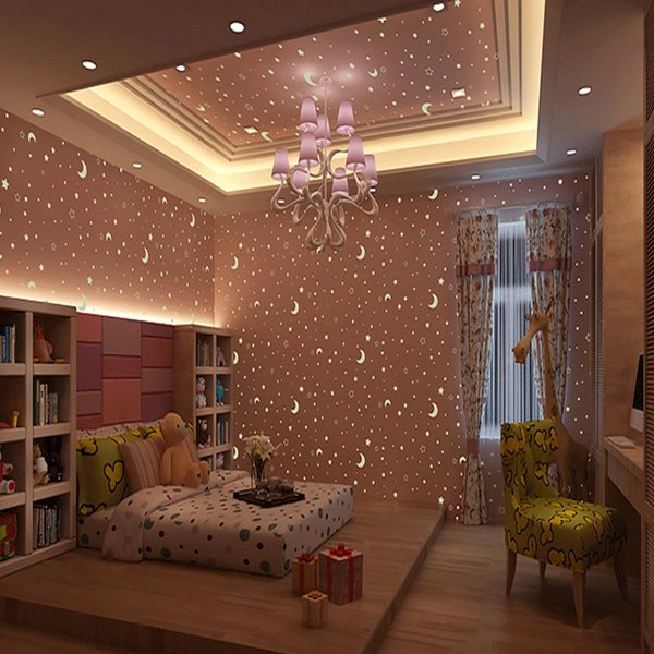 Kid S Room Luminous Wallpaper Roll Stars And The Moon Boys And Girls Children S Room Bedroom Ceiling Fluorescent Wallpaper Decor Wallpaper Wide