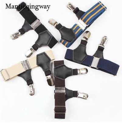 Mantieqingway Fashion Solid&Striped 2.5cm Ajustables Suspenders For Men Sock Garters Unisex Resistance Belt Tirantes Hombre