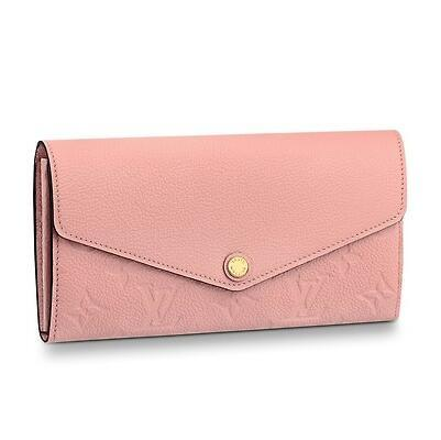 M64082 SARAH WALLET Embossing pink Real Caviar Lambskin Chain Flap Bag LONG CHAIN WALLETS KEY CARD HOLDERS PURSE CLUTCHES EVENING