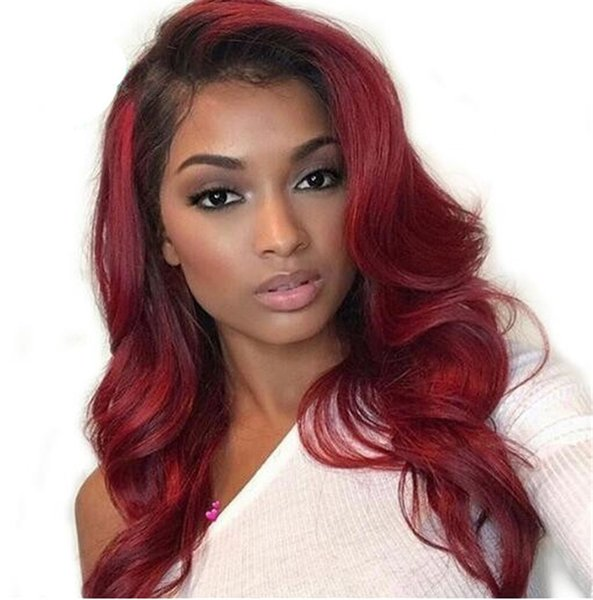 1B 99j Body Wavy Full Lace Human Hair Wigs Ombre Color Brazilian Remy with Pre-Plucked Natural Hairline