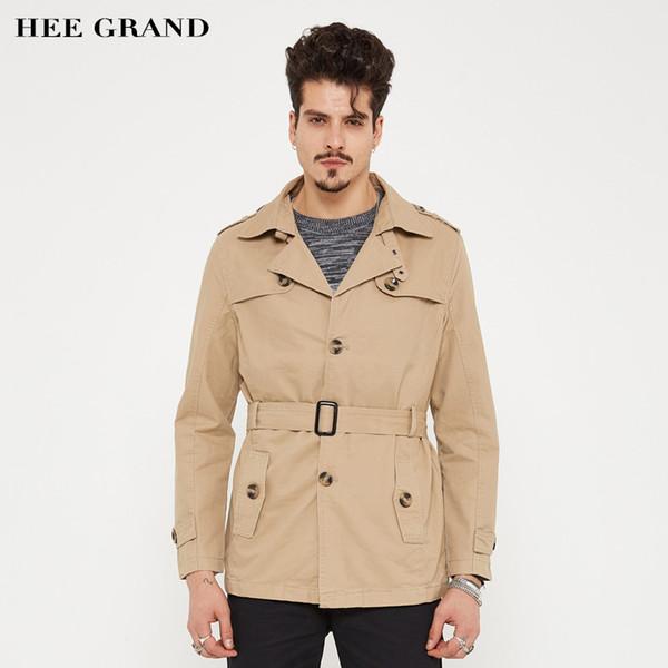 HEE GRAND Men Stylish Blends 2017 Nuovo arrivo Turn-down Collar monopetto con cintura Fashion Spring Autumn Coat MWF333