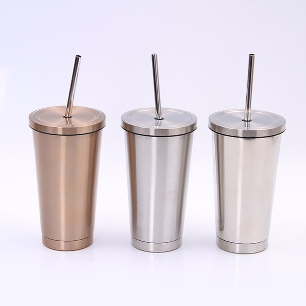 500Ml Coffee Mug Food Grade Stainless Steel Coffee Cup With Lids Straw Bottle Double Layer Coffee Travel mug Tea Cup