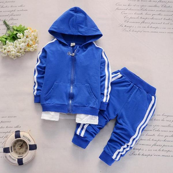Весна Осень Детские Casual костюмы Мальчики с капюшоном Пальто Брюки Спорт 2Pcs Детский костюм Хлопок Одежда для новорожденных Комплекты Tracksuit