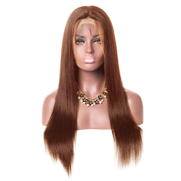 Long Wavy Wigs for Black Women African American 100% Human Hair Brown Full Lace Wig Brown Wigs with Bangs Straight Bob Wigs