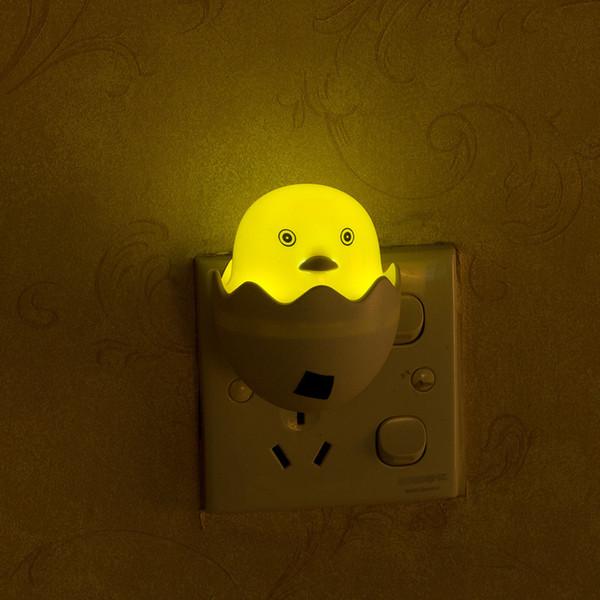 Dessin animé Petit Canard Mignon Capteur Lumière LED Lampe Socket-Powered Light Control gece lambas Luminaria Enfants Veilleuse Chambre Décor