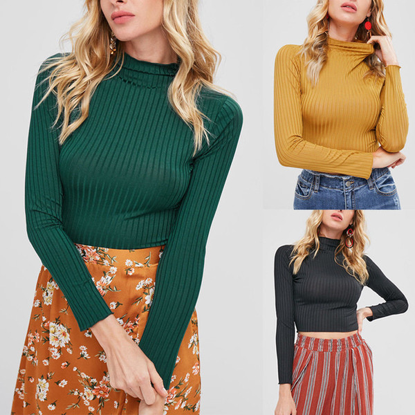 New Ladies Women T-Shirt Basic Long Sleeve Stretch High Turtle Neck Knitted Crop Jumper Top Autumn Women Clothes T-Shirts