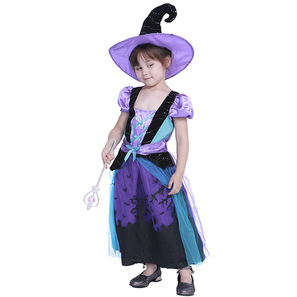 Children Halloween Cosplay Costume Blue Castle Witch Dress Kids Performance Sets Halloween Holiday Party Purple Black Lace Dress with Hat