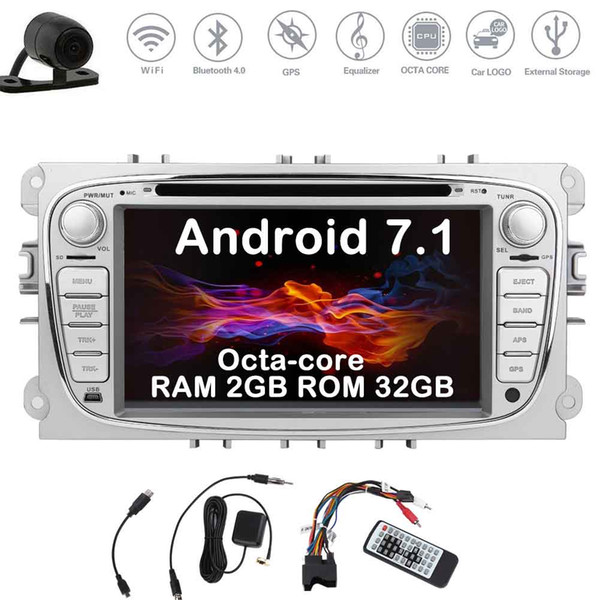 Eincar Backup Camera Double Din Car Stereo Android Nougat system 7'' Car DVD Player for Ford Focus In Dash GPS Navigation Auto Radio