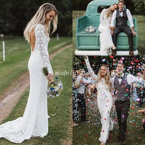 Country Lace Mermaid Wedding Dresses 2018 Jewel Backless Long Sleeve Sweep Train Garden Beach Bridal Gowns robe de mariée