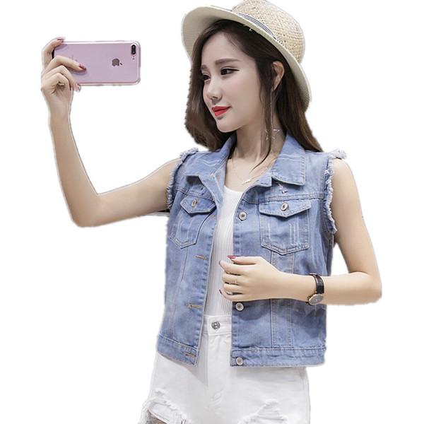 Roupas de Verão barato Para As Mulheres 2018 Coreano Sem Mangas das Mulheres Denim Vest Casual Solto Grande Tamanho Jeans Jaqueta Coletes Femininos Veste