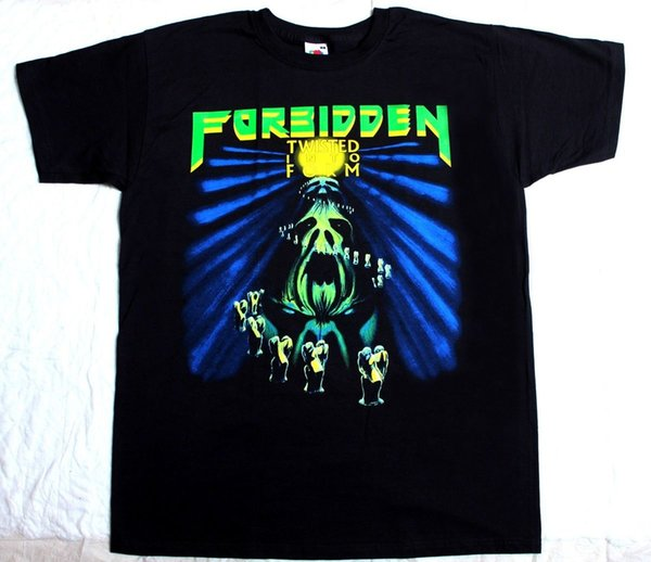 FORBIDDEN TWISTED INTO FORM'90 THRASH BAND SLAYER VIO-LENCE BLACK T-SHIRT 100% Cotton T Shirts Brand Clothing Tops Tees