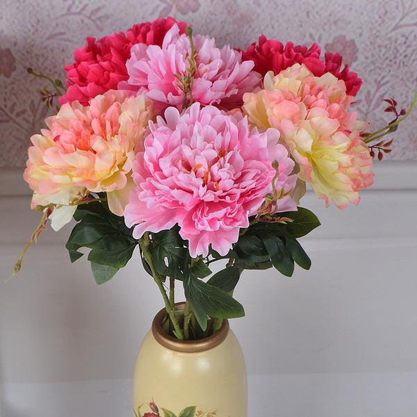 Simülasyon Tek Şube Subshrubby Şakayık Çiçek Öykünme Ipek Çiçekler Buket Yapay Gelin Gelin Buketi Düğün Küçük Mevcut 3TH gg