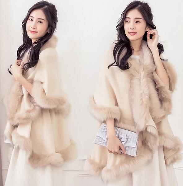 Womens Fur Shawl Cape Poncho Outwear Warm Jacket Coats Fur Brim Warm